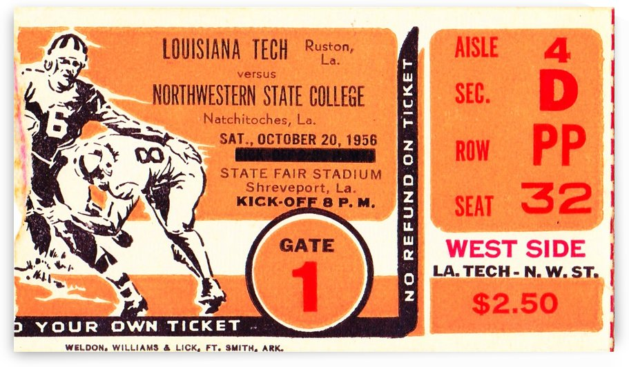 1956 Louisiana Tech vs. Northwestern State by Row One Brand