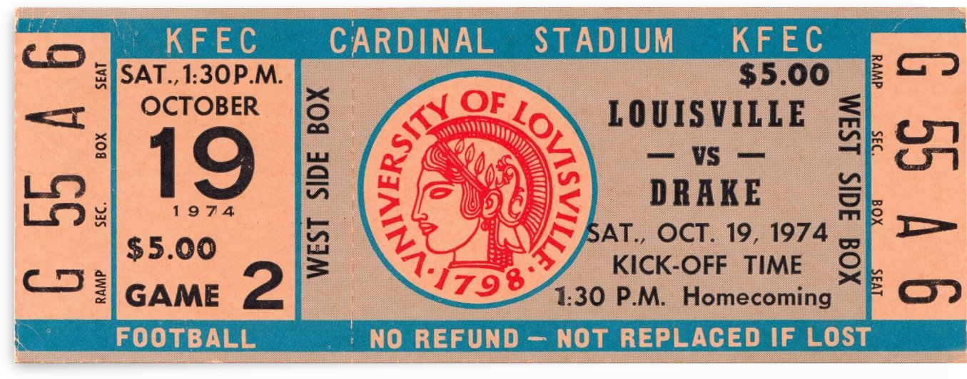 1974 drake louisville cardinals football kfec cardinal stadium by Row One Brand