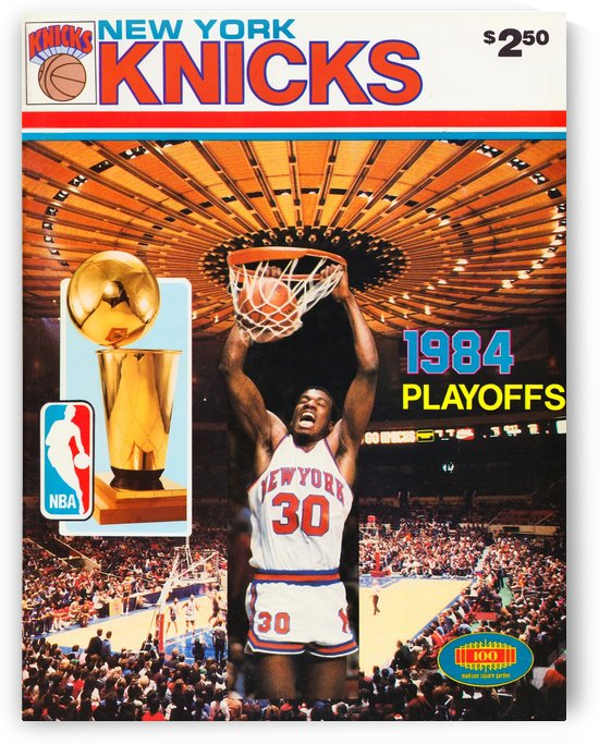 1984 new york knicks nba basketball playoffs bernard king program poster by Row One Brand