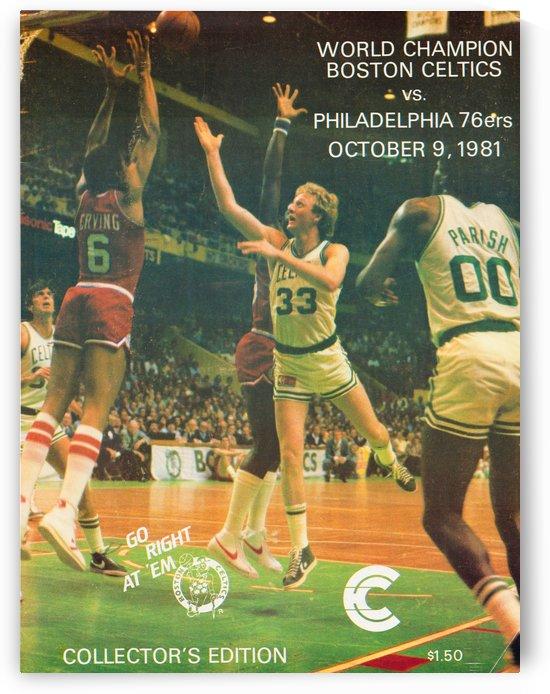 1981 boston celtics philadelphia 76ers larry bird art by Row One Brand