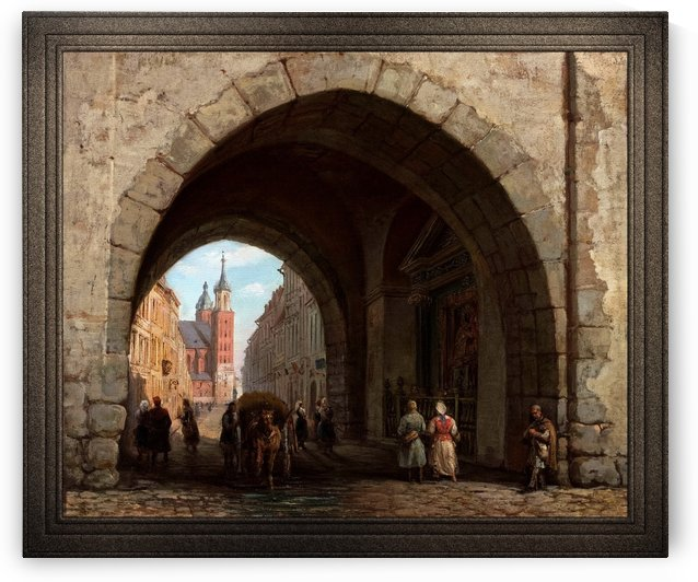 The Florian Gate in Krakow by Marcin Zaleski Old Masters Classical Fine Art Reproduction by xzendor7