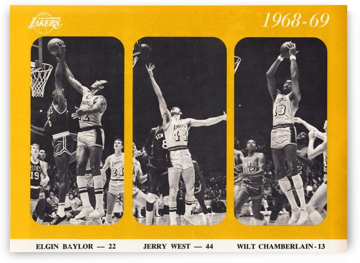 1968 los angeles lakers poster by Row One Brand