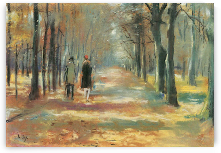 Couple walking in the woods by Lesser Ury by Lesser Ury