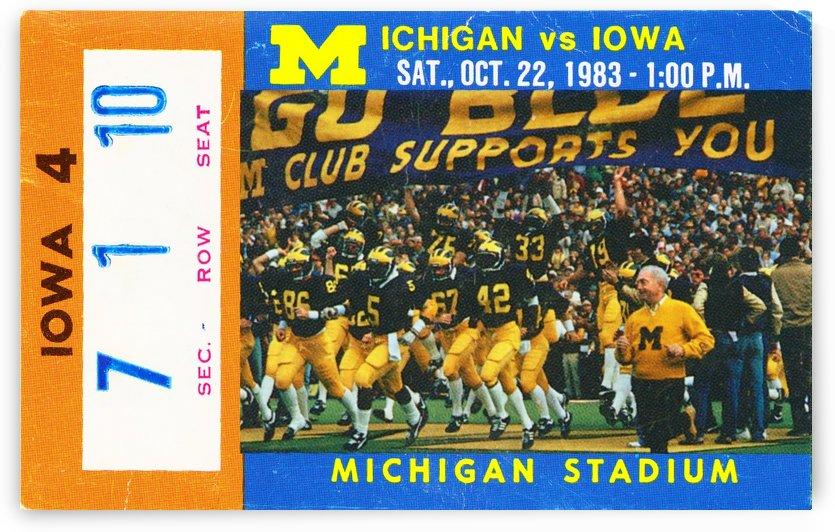 1983 michigan wolverines iowa hawkeyes football ticket stub art ann arbor by Row One Brand