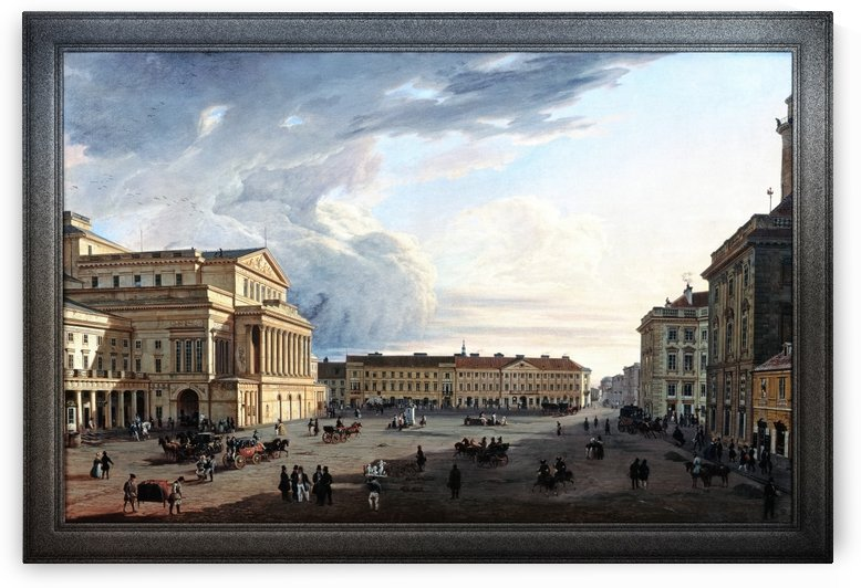 Theater Square in Warsaw by Marcin Zaleski Classical Fine Art Old Masters Reproduction by xzendor7
