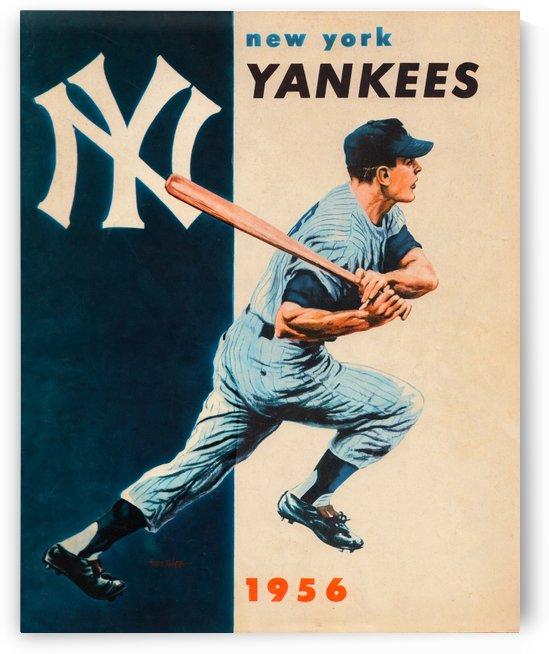 1956 new york yankees vintage baseball art by Row One Brand