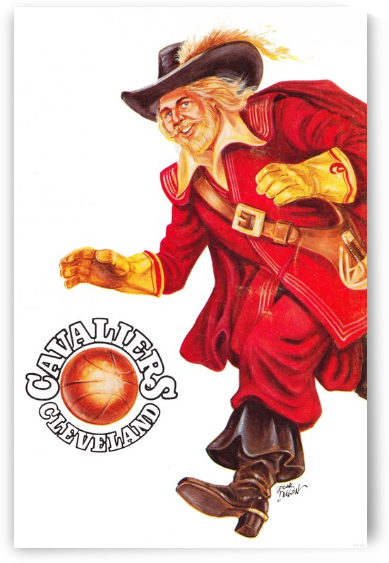 1977 cleveland cavaliers retro basketball art by Row One Brand
