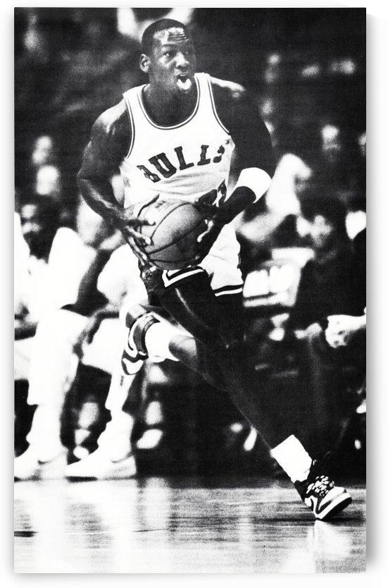 1985 michael jordan poster black white photo by Row One Brand