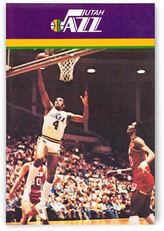 1981 utah jazz basketball poster adrian dantley by Row One Brand