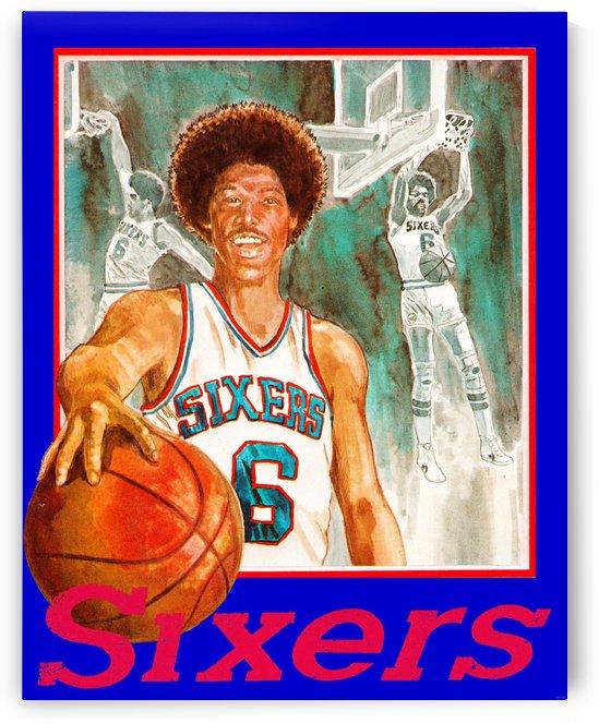1980 julius erving phildelphia 76ers retro basketball art by Row One Brand