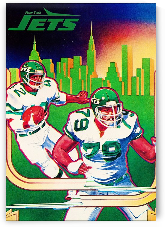 1981 new york jets nyc cityscape football poster by Row One Brand