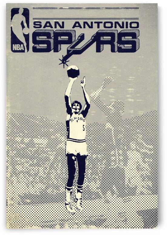 1978 san antonio spurs vintage basketball art by Row One Brand