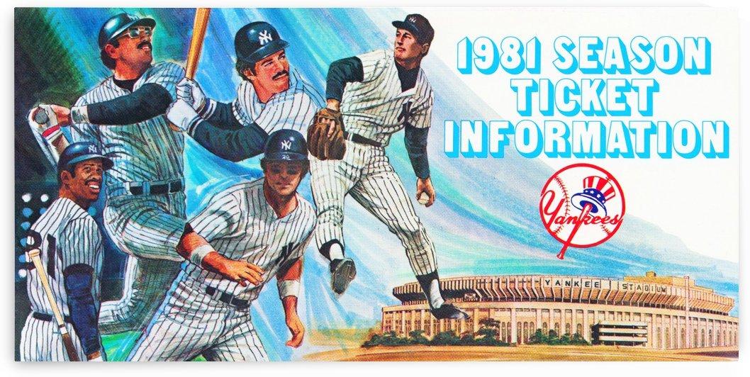 1981 new york yankees baseball season ticket information art by Row One Brand