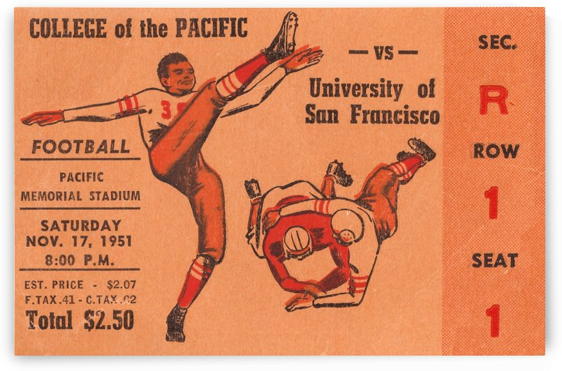 1951 college of the pacific university of san francisco stockton california by Row One Brand