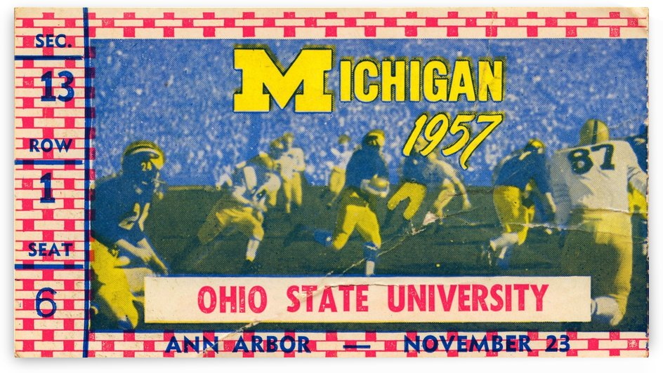 1957 michigan ohio state buckeyes football ticket canvas wall art by Row One Brand