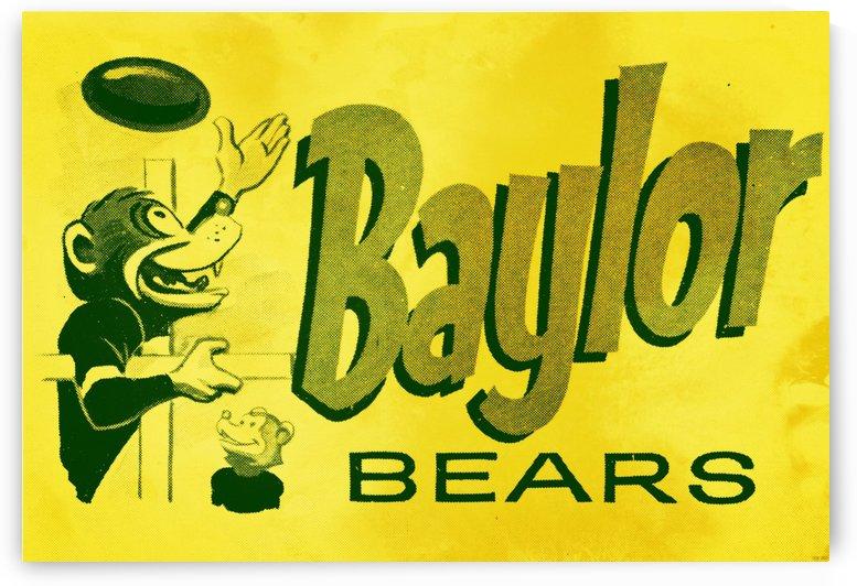 1955 baylor bears vintage cartoon art by Row One Brand