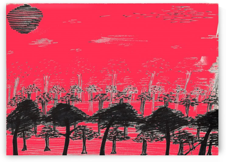 Trees vs sun red by Oletydraw