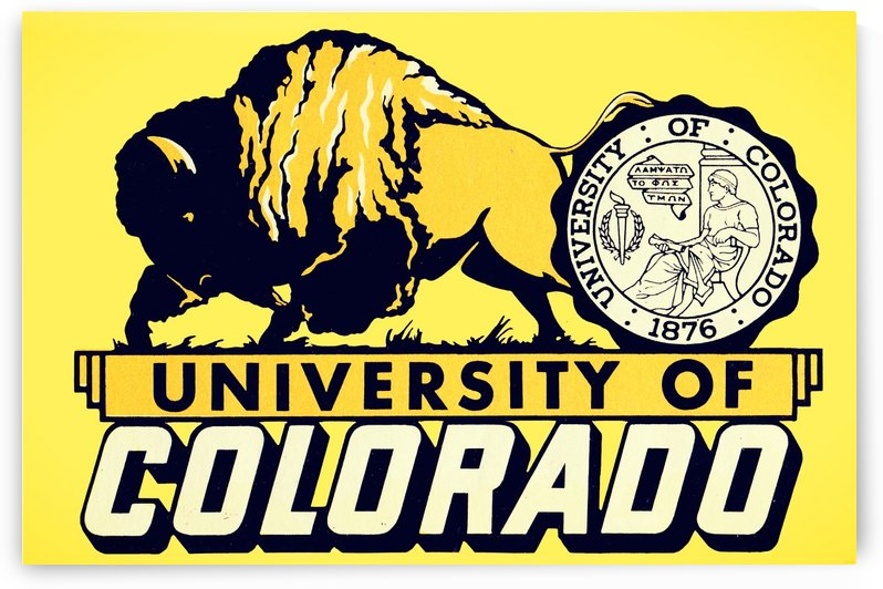 1950s vintage college art university of colorado buffaloes boulder by Row One Brand