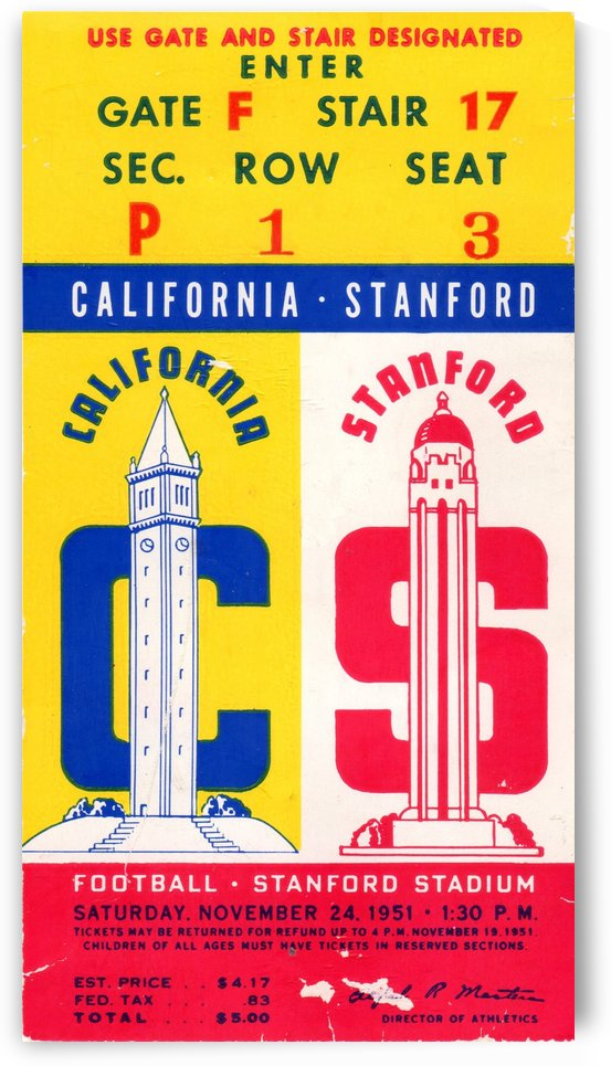 1951 Cal vs. Stanford by Row One Brand