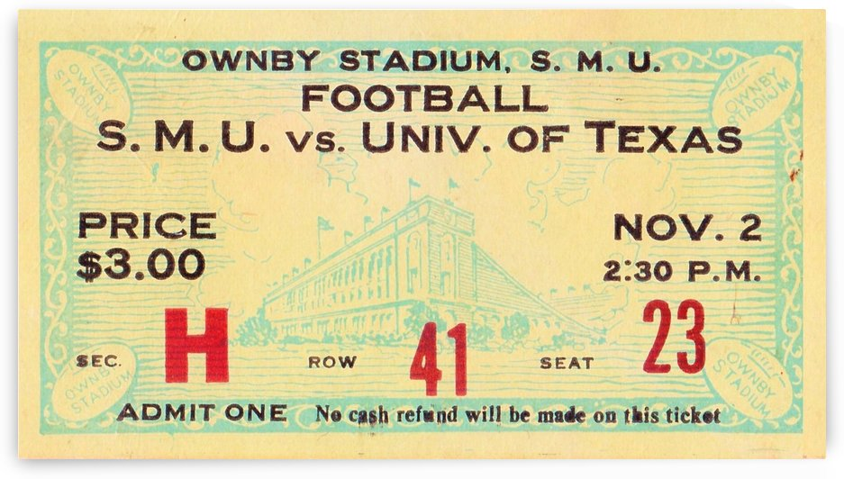 1935 SMU National Champions vs. Texas by Row One Brand