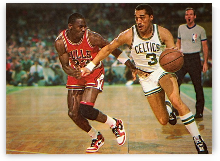 1985 michael jordan dennis johnson basketball art print  by Row One Brand