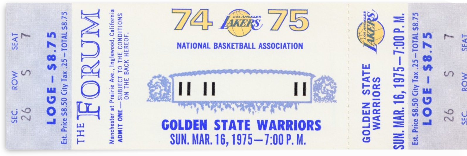 1974 LA Lakers vs. Golden State by Row One Brand