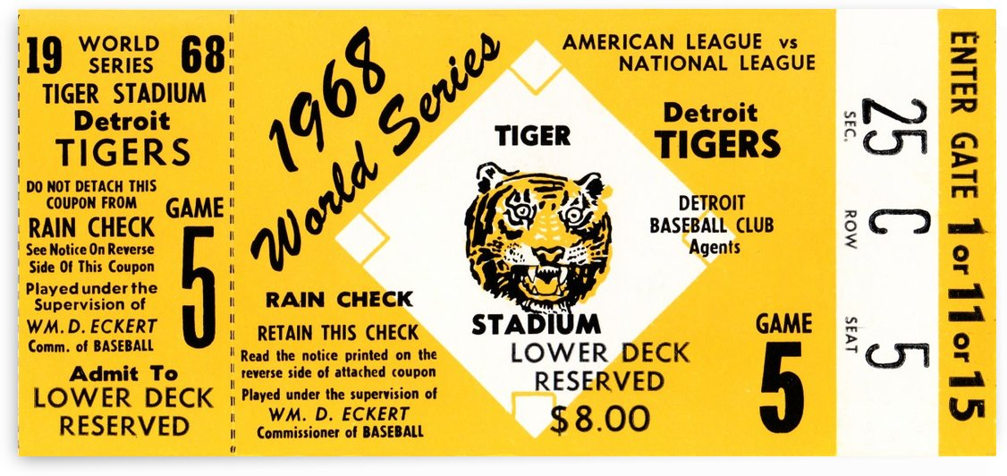 1968 Detroit Tigers World Series Ticket Art by Row One Brand
