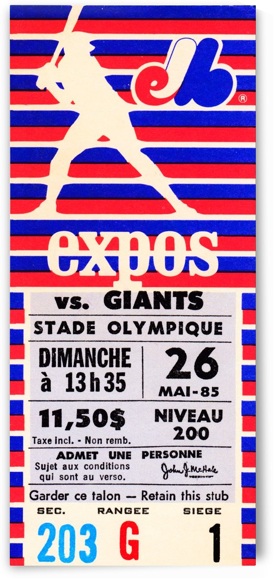 1985 Montreal Expos vs. San Francisco Giants by Row One Brand