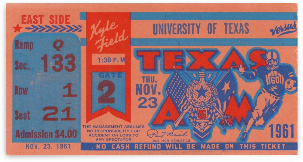 1961 texas am aggies football ticket wall art by Row One Brand