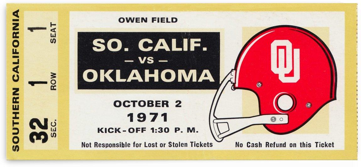 1971 usc trojans oklahoma sooners owen field norman ok football ticket wall art by Row One Brand
