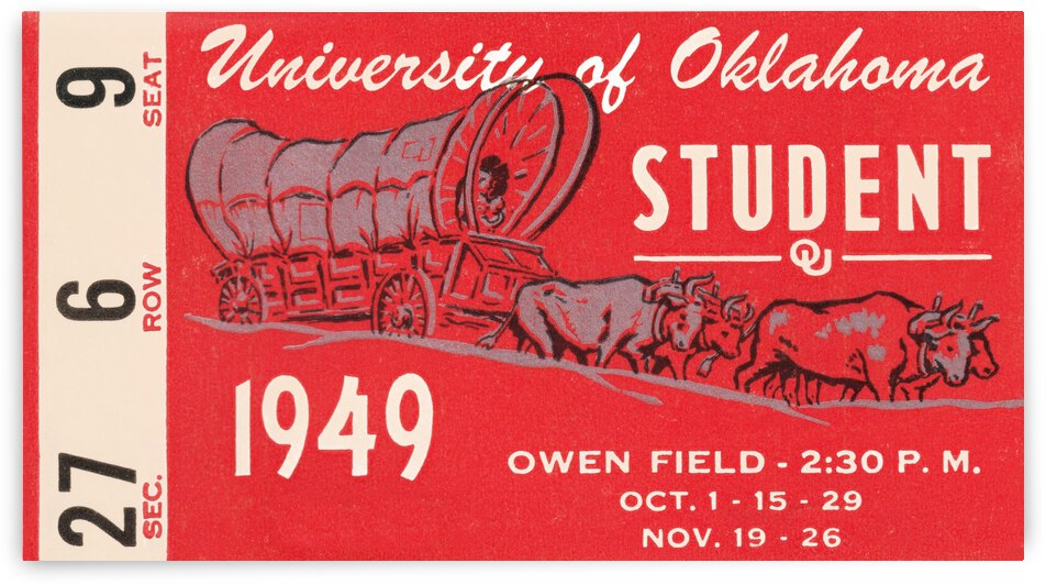 1949 oklahoma sooners football student season ticket art by Row One Brand