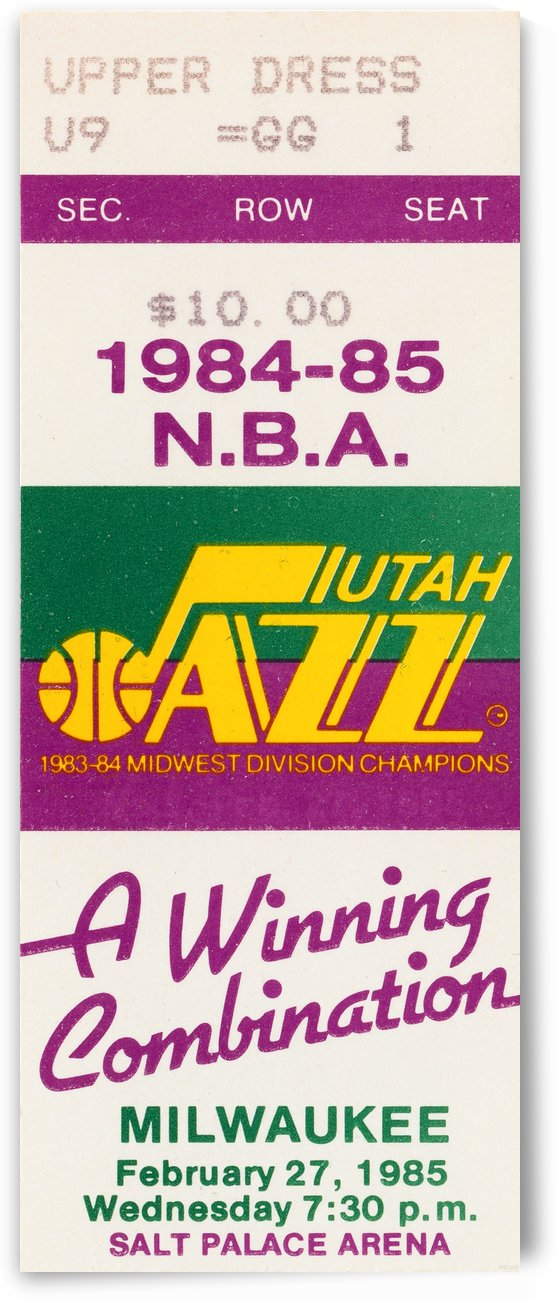 1984 utah jazz milwaukee bucks salt palace arena ticket art by Row One Brand