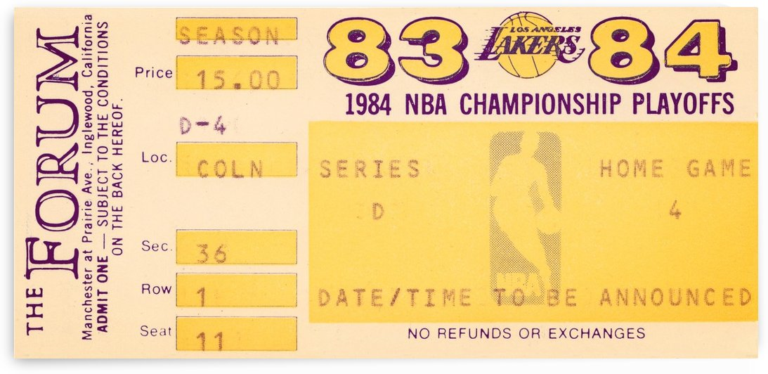 1983 84 la lakers nba playoff ticket art by Row One Brand