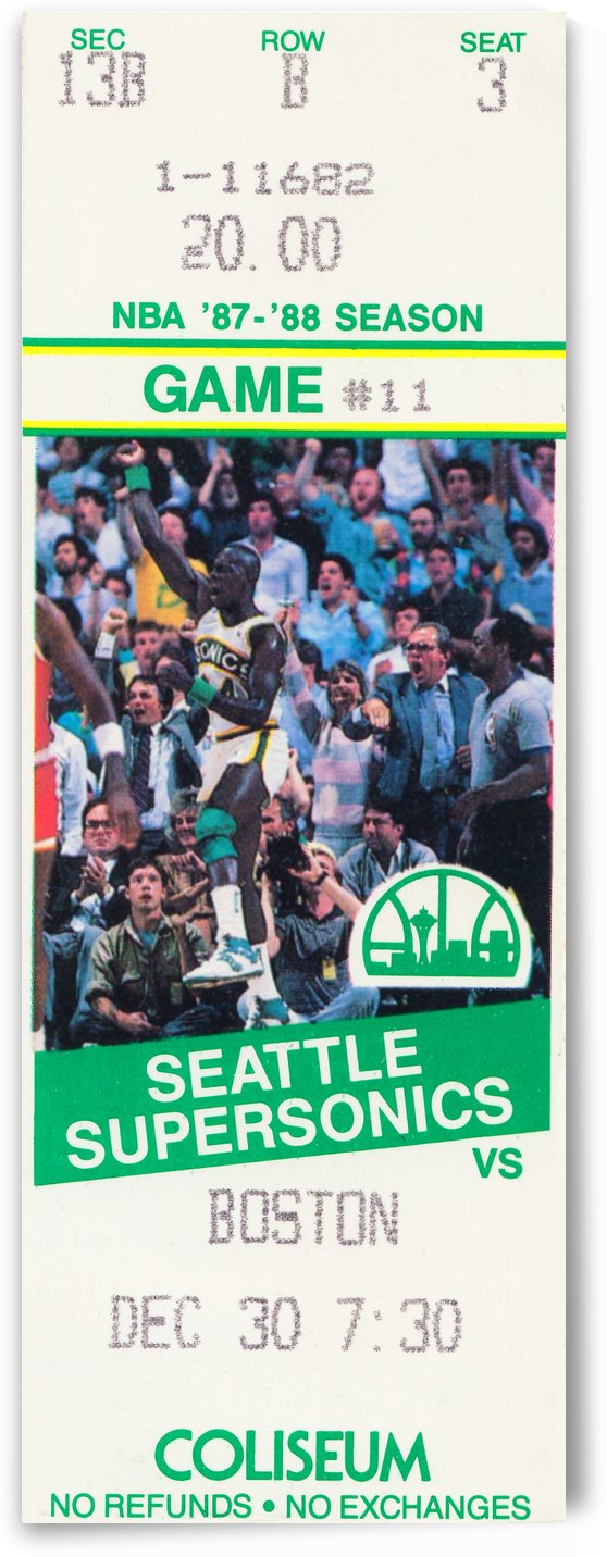 1987 seattle supersonics boston celtics ticket art by Row One Brand