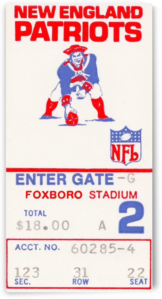 1972 new england patriots ticket remix art by Row One Brand