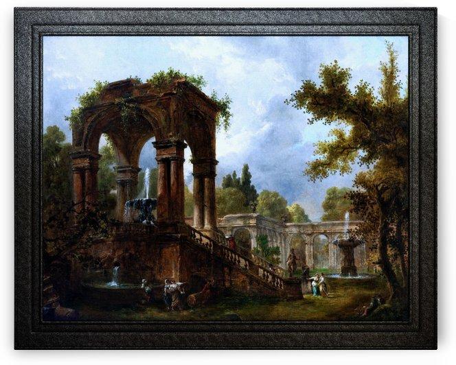 Landschaft Mit Temple Ruine Und Figuren by Hubert Robert Fine Art Old Masters Reproduction by xzendor7