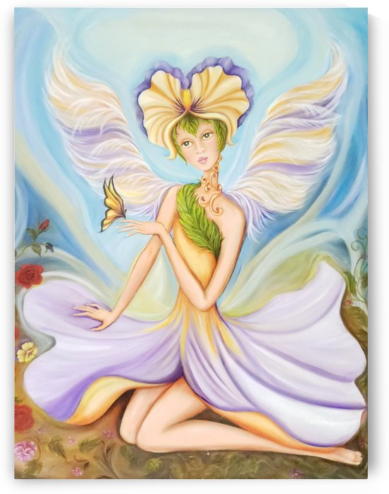 Fairy Winged in Pink & Green Flower Dress Holding Yellow Butterfly by Norma Roman Creations