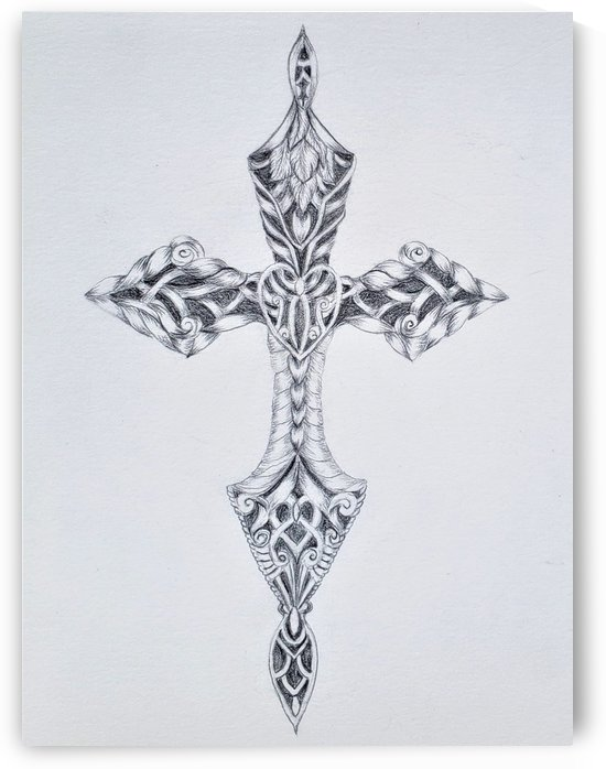 Cross Sketch Heart Center Black Backing by Norma Roman Creations
