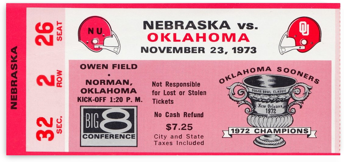 1973 oklahoma sooners nebraska cornhuskers owen field norman college football ticket art by Row One Brand