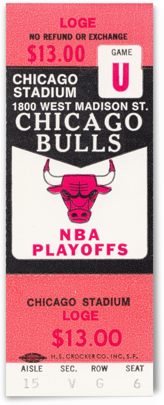 1982 chicago bulls nba playoffs phantom ticket by Row One Brand