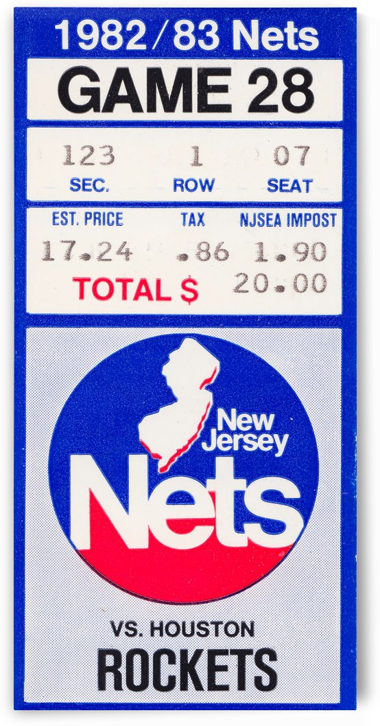 1982 houston rockets new jersey nets nba basketball ticket stub wall art by Row One Brand