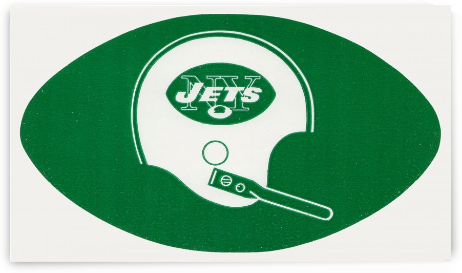 1960s new york jets helmet wall art by Row One Brand