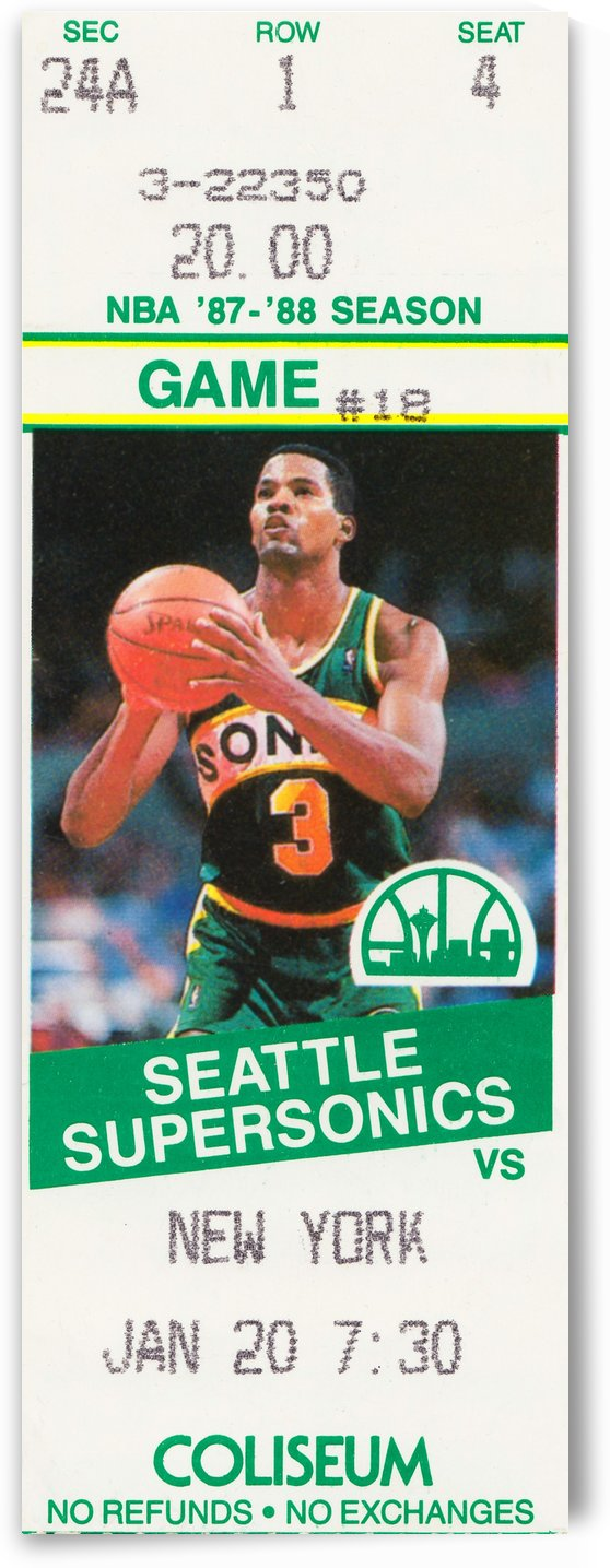 1987 seattle supersonics new york knicks basketball ticket stub canvas art by Row One Brand