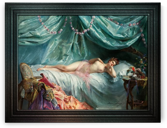 La volupte by Madeleine-Jeanne Lemaire Classical Fine Art Reproduction by xzendor7