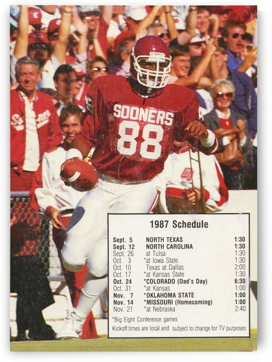 1987 oklahoma sooners football schedule poster by Row One Brand