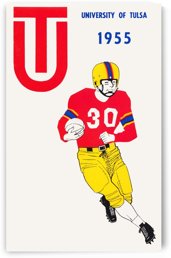 1955 university of tulsa football poster by Row One Brand