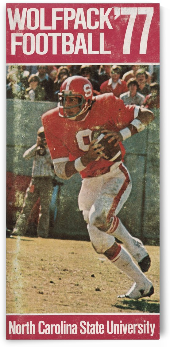 1977 nc state wolfpack retro college football poster johnny evans qb by Row One Brand