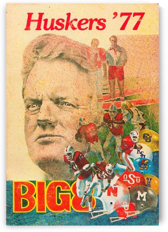1977 nebraska cornhuskers tom osborne big 8 college football poster by Row One Brand