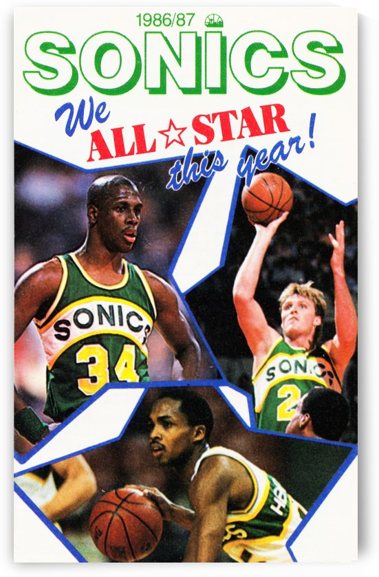 1987 seattle supersonics nba all star game poster by Row One Brand