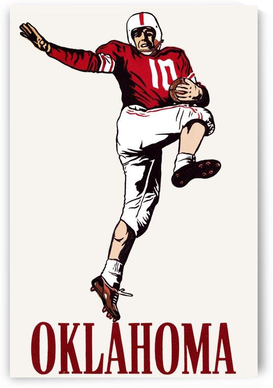 vintage oklahoma sooners football art running back by Row One Brand